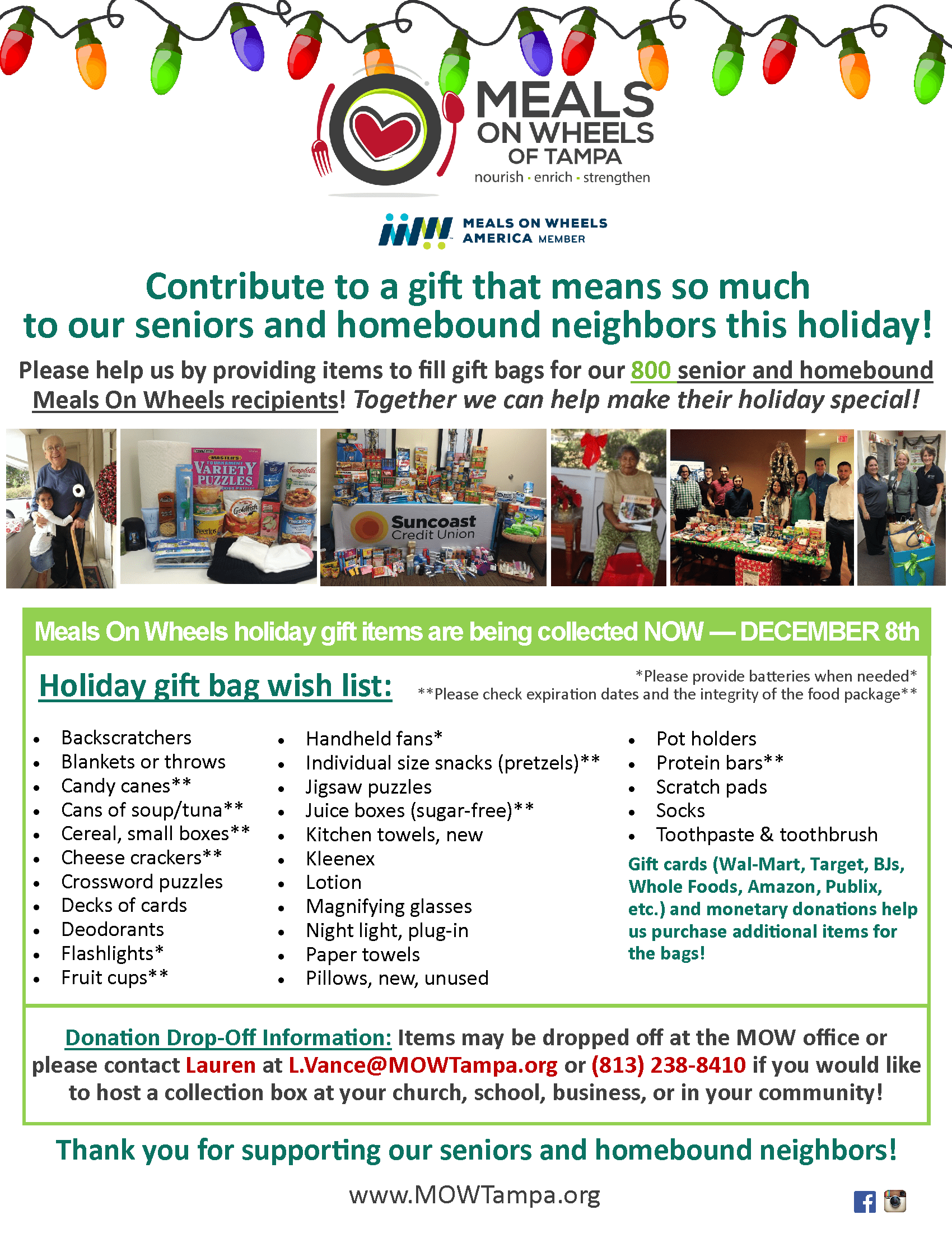 meals on wheels of tampa s annual holiday gift bag drive